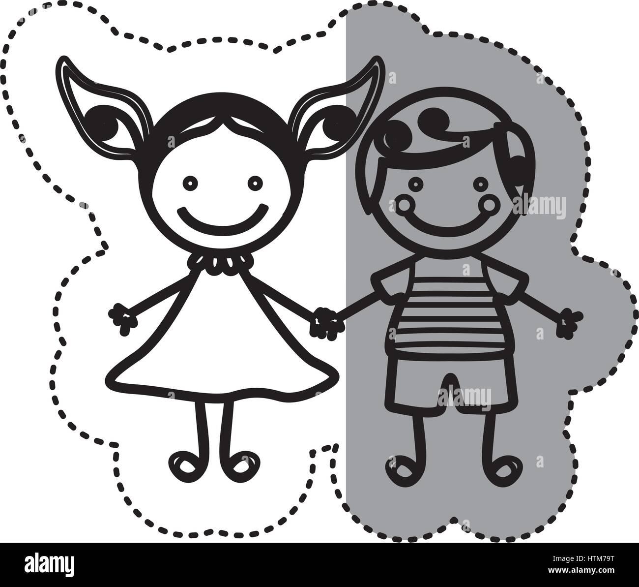 Pegatina silueta boceto caricatura pareja chico con el pelo rizado y una chica con vestido Ilustración del Vector