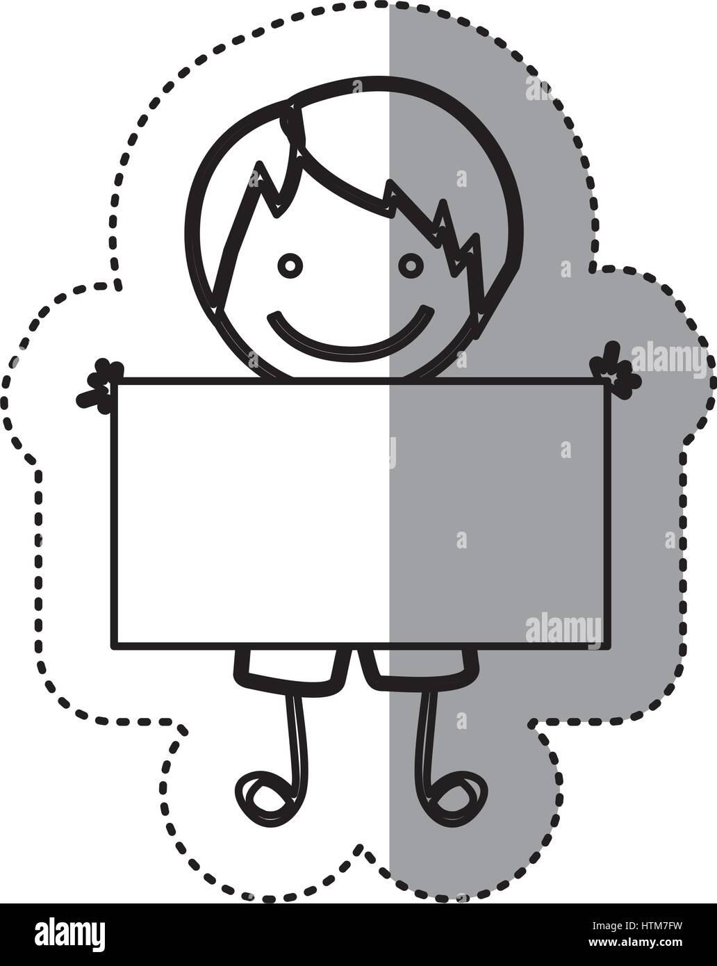 Pegatina silueta boceto caricatura chico con el pelo lacio y banner Ilustración del Vector