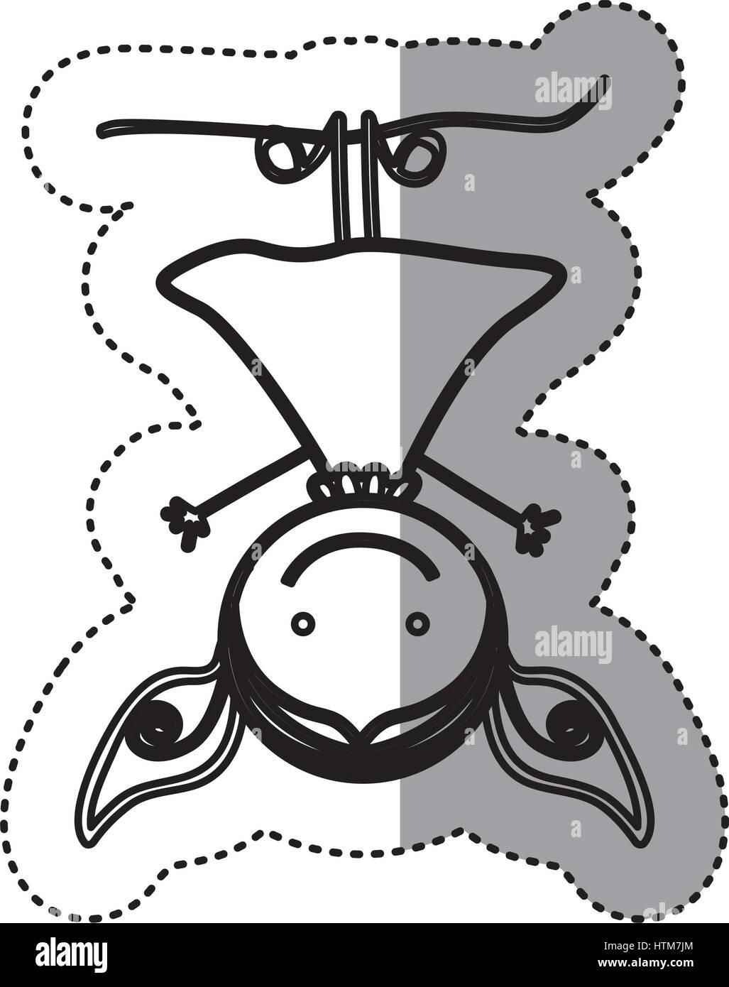 Pegatina silueta boceto caricatura chica con cabello pigtails colgado boca abajo Ilustración del Vector