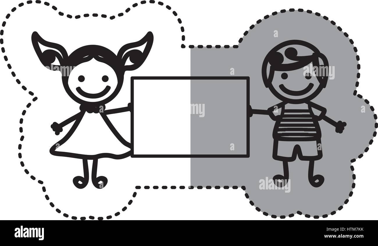Pegatina silueta boceto caricatura pareja chico con el pelo rizado y una chica con vestido y banner Ilustración del Vector