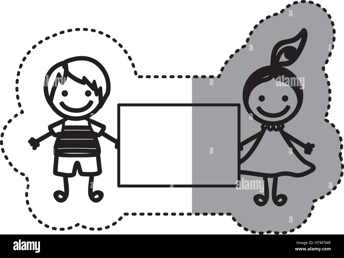 Pegatina silueta boceto caricatura pareja chico y chica con cola de cabello y banner Ilustración del Vector