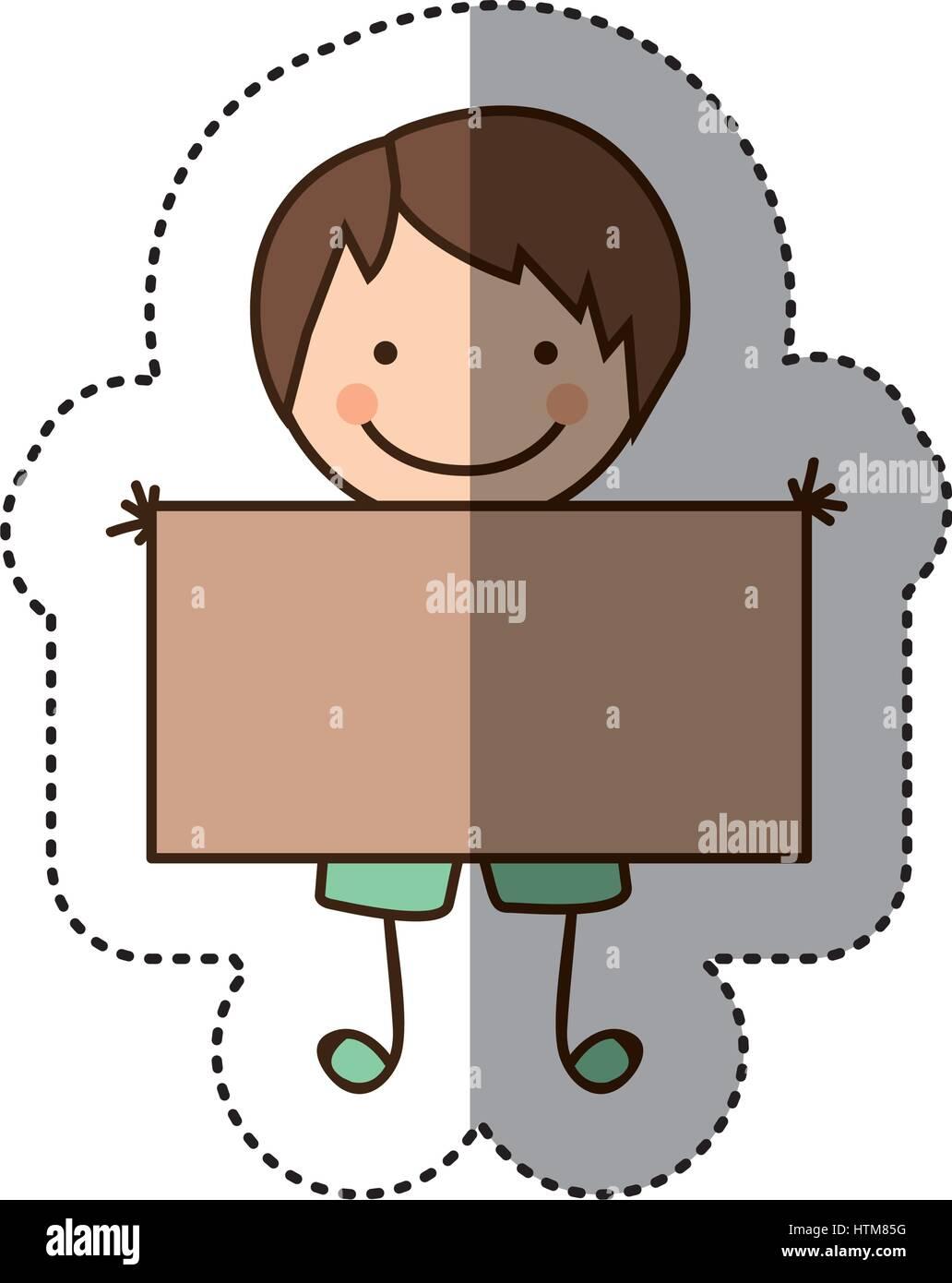 Pegatina colorida caricatura chico con el pelo lacio y banner Ilustración del Vector