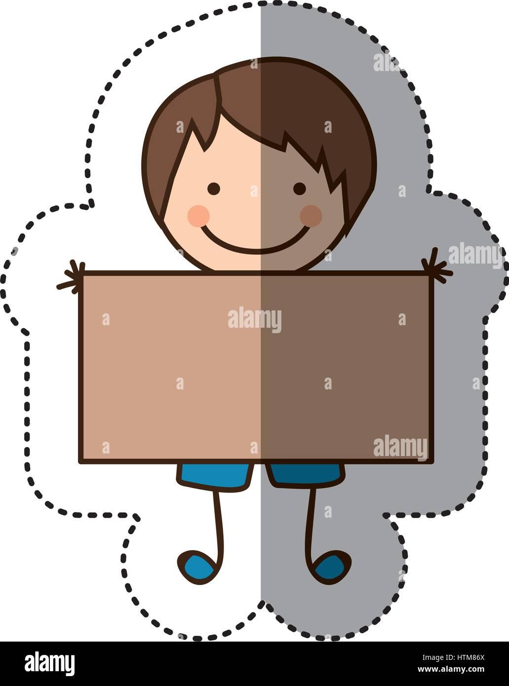 Pegatina colorida caricatura boy con banner Ilustración del Vector