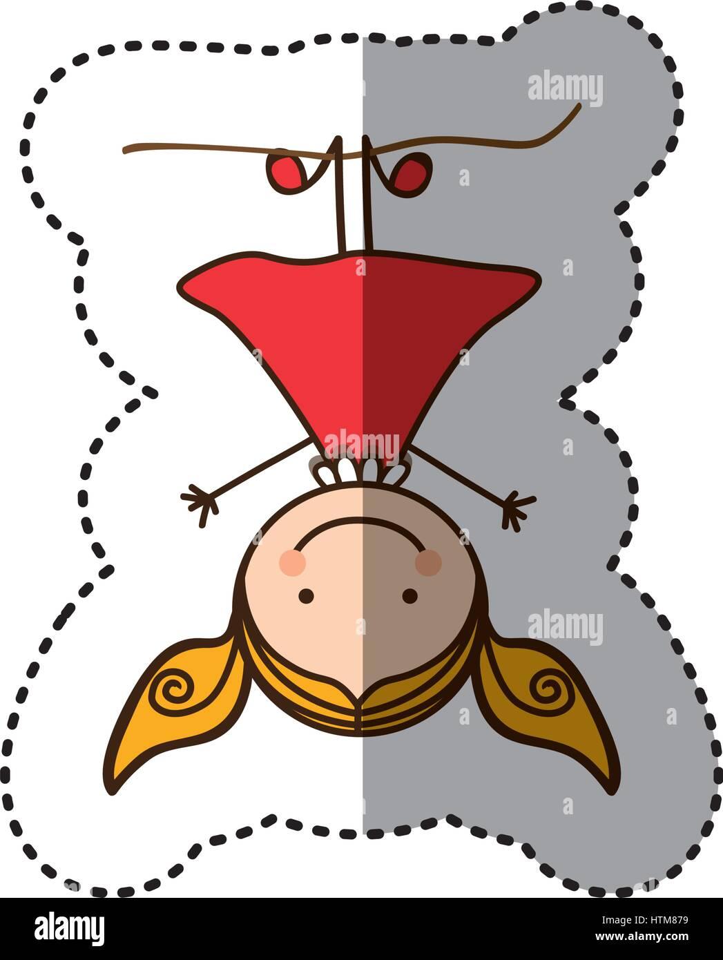 Pegatina colorida caricatura chica con cabello pigtails colgado boca abajo Ilustración del Vector