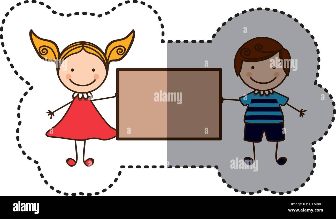 Pegatina colorida caricatura pareja chico con el pelo rizado y una chica con vestido y banner Ilustración del Vector