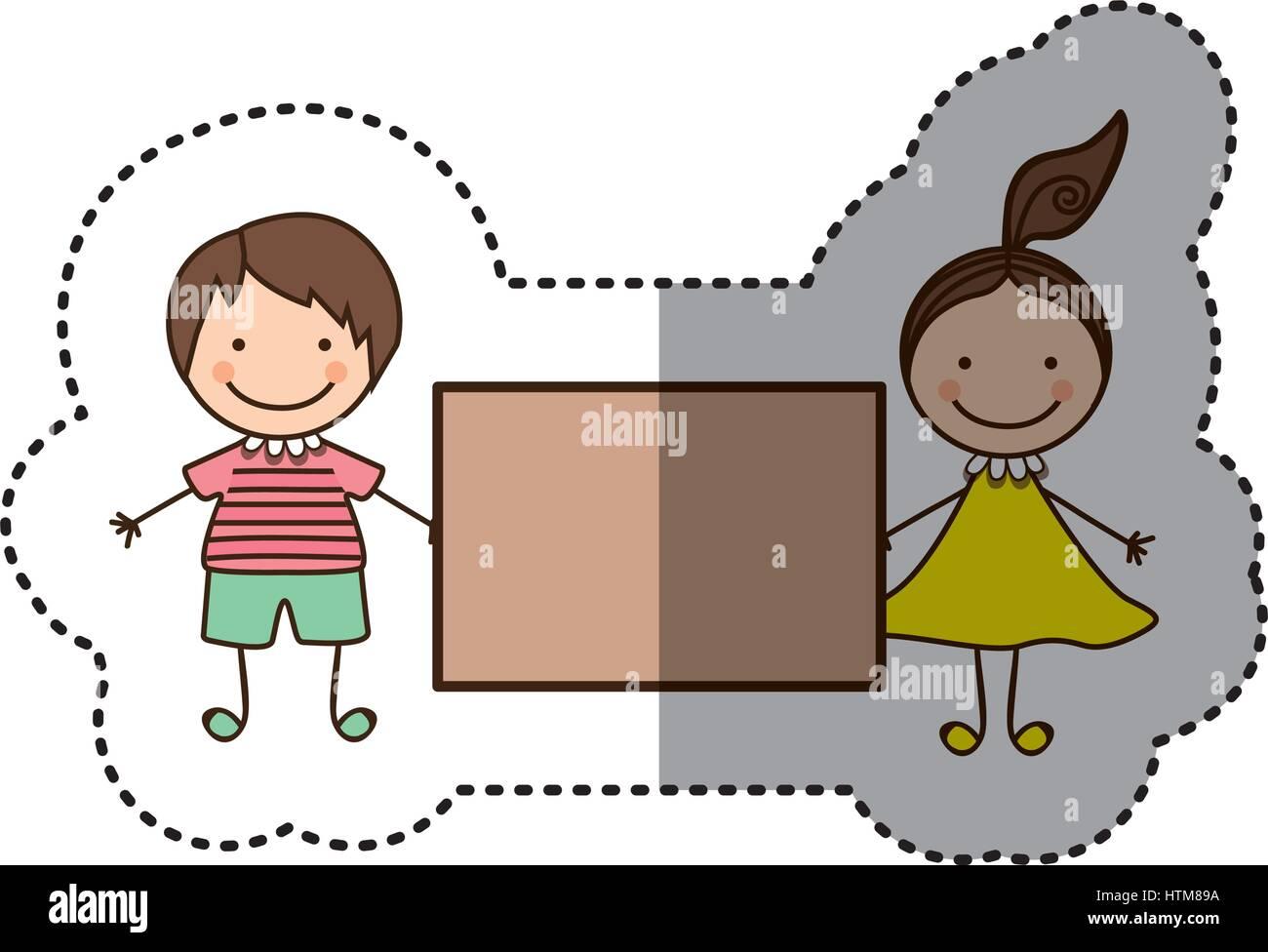 Pegatina colorida caricatura pareja chico y chica con cola de cabello y banner Ilustración del Vector