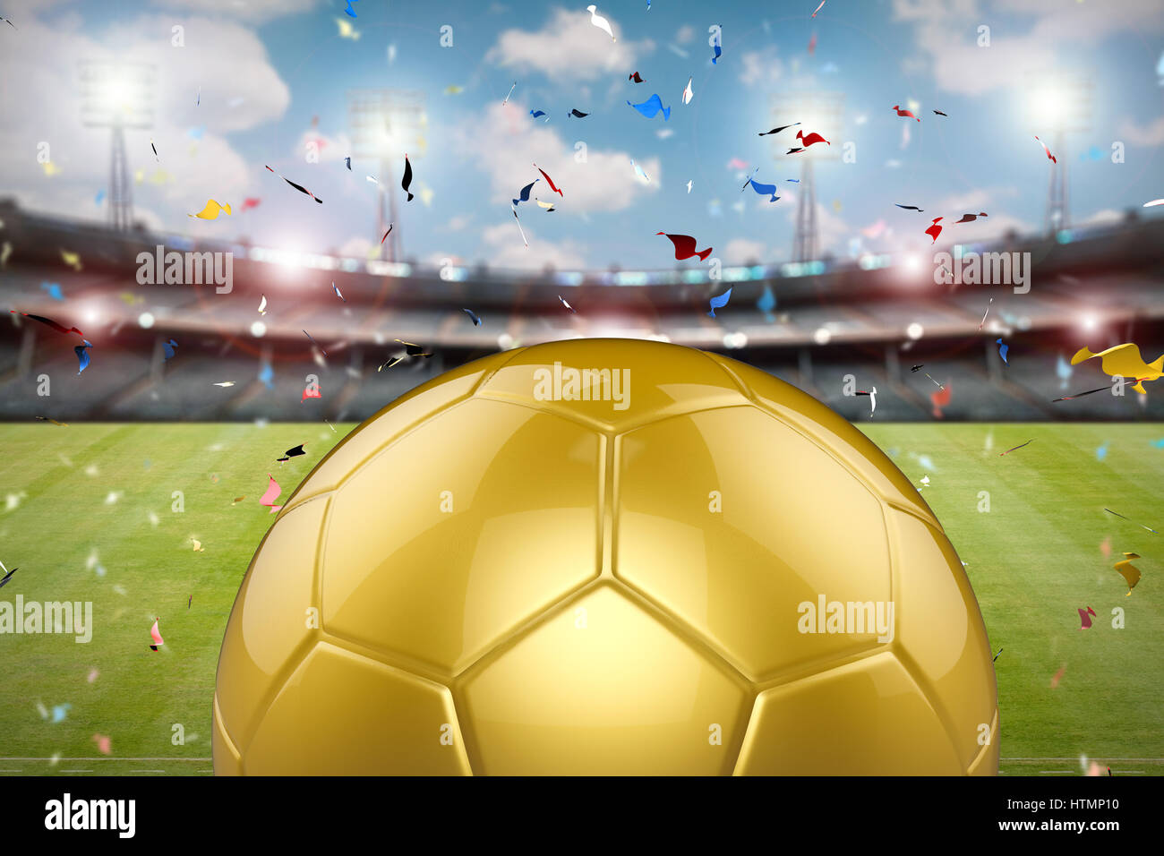 3D rendering golden balón de fútbol con el estadio de fútbol y confeti  antecedentes 2f80e2a47f016