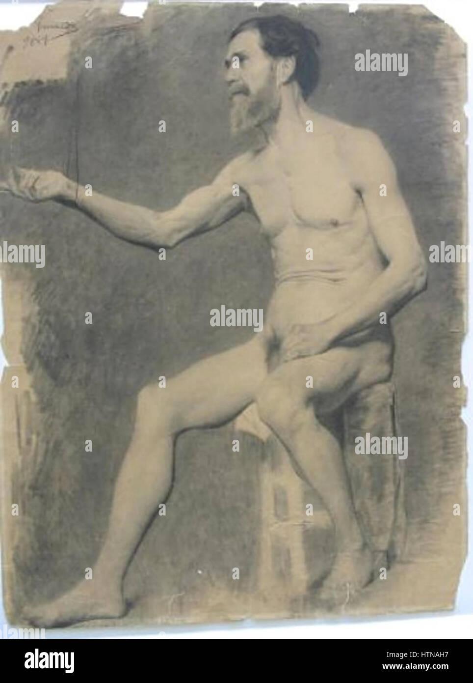 Rodolfo Amoedo - Nu masculino sentado Imagen De Stock