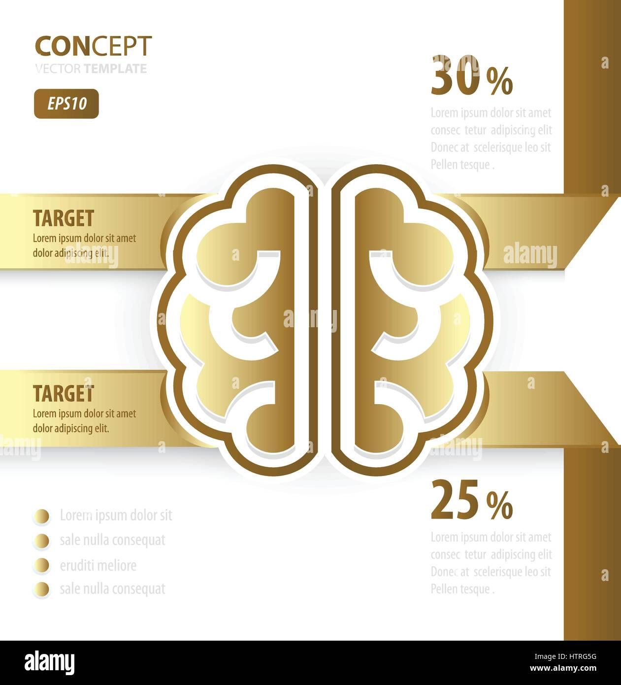 Cerebro Humano concepto estilo de oro Imagen De Stock