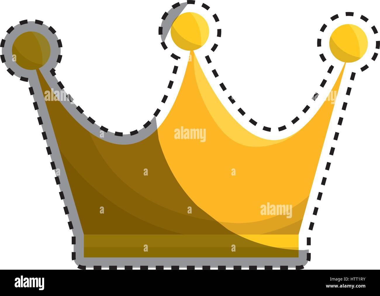 Corona Reina Icono Dorado Ilustración Del Vector, Imagen