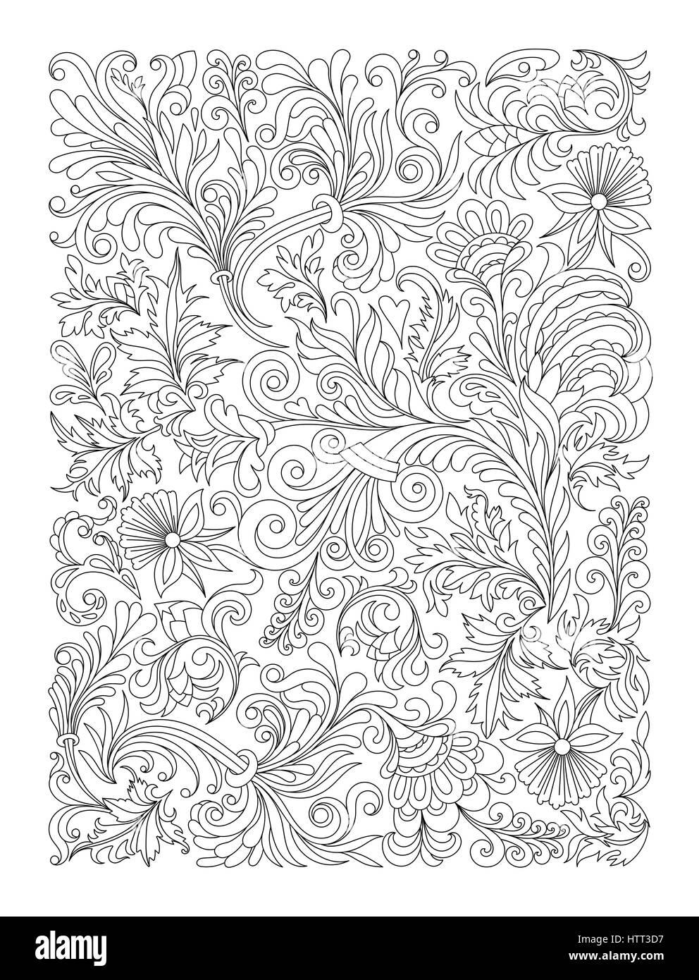 Doodle patrón floral en blanco y negro. Página para colorear: muy ...