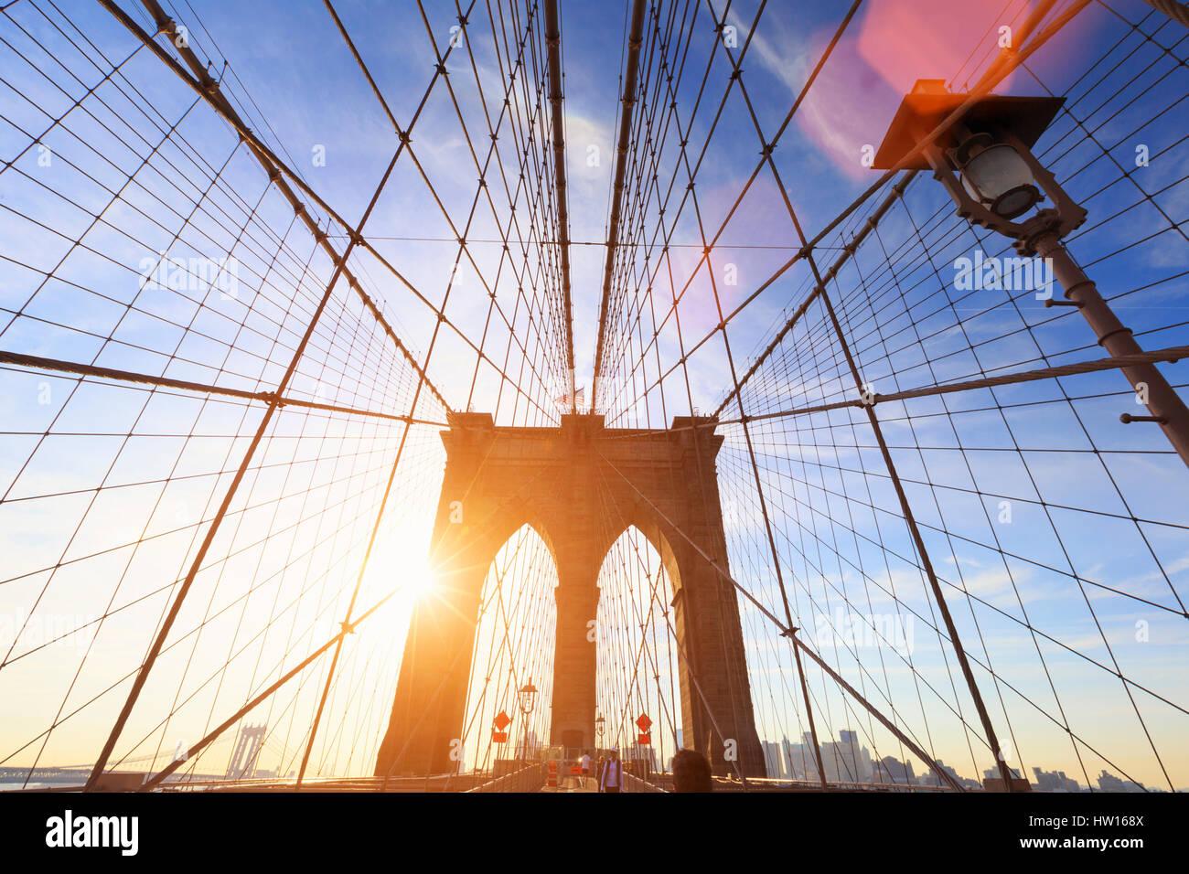 Los Estados Unidos, Nueva York, Ciudad de Nueva York, el Puente de Brooklyn Imagen De Stock