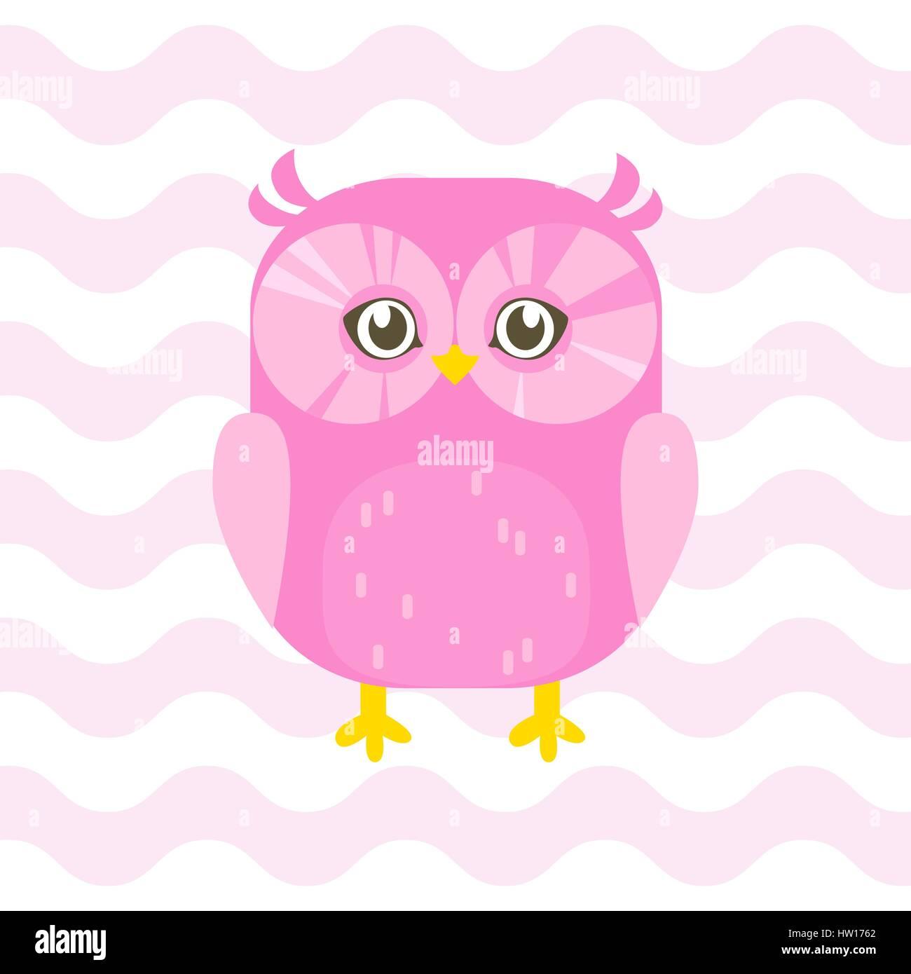 Baby Shower Ilustración Con Lindo Color Rosa Bebé Búho En Color Rosa