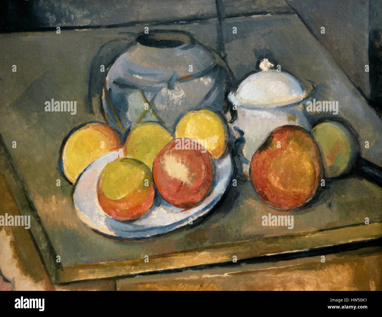 Paul Cezanne (1839-1906). Postimpresionista. Still life wih paja jarrón recortado, Sugar Bowl y manzanas, 1890 Imagen De Stock