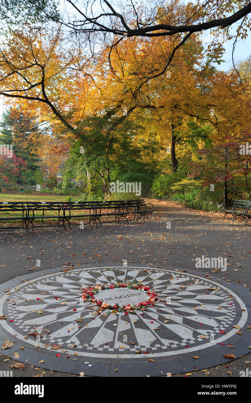 Estados Unidos, Manhattan, Ciudad de Nueva York, Central Park, Strawberry Fields, Imagine Mosaico Foto de stock