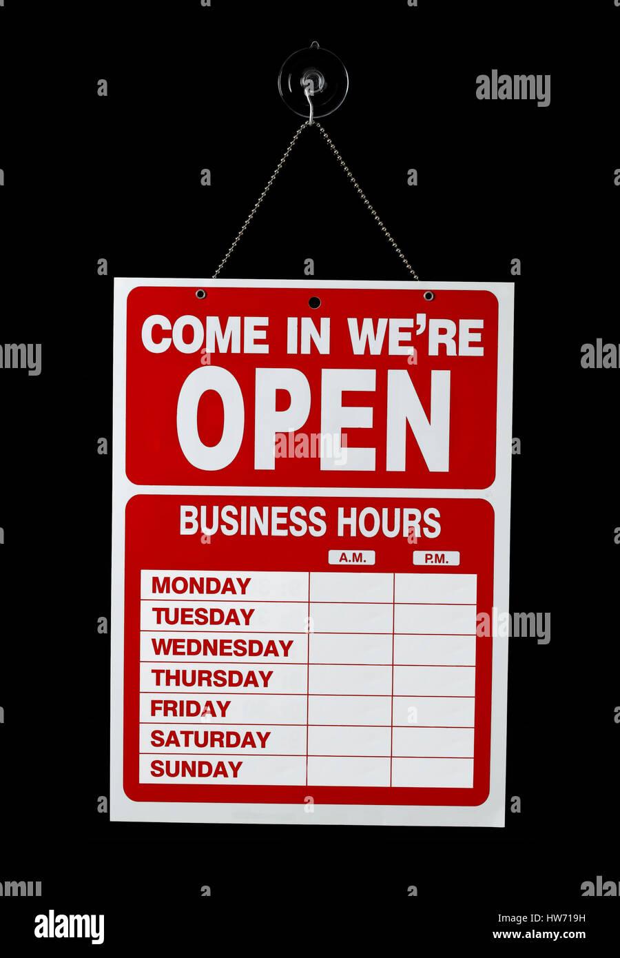 Muestra abierta de la tienda Foto de stock