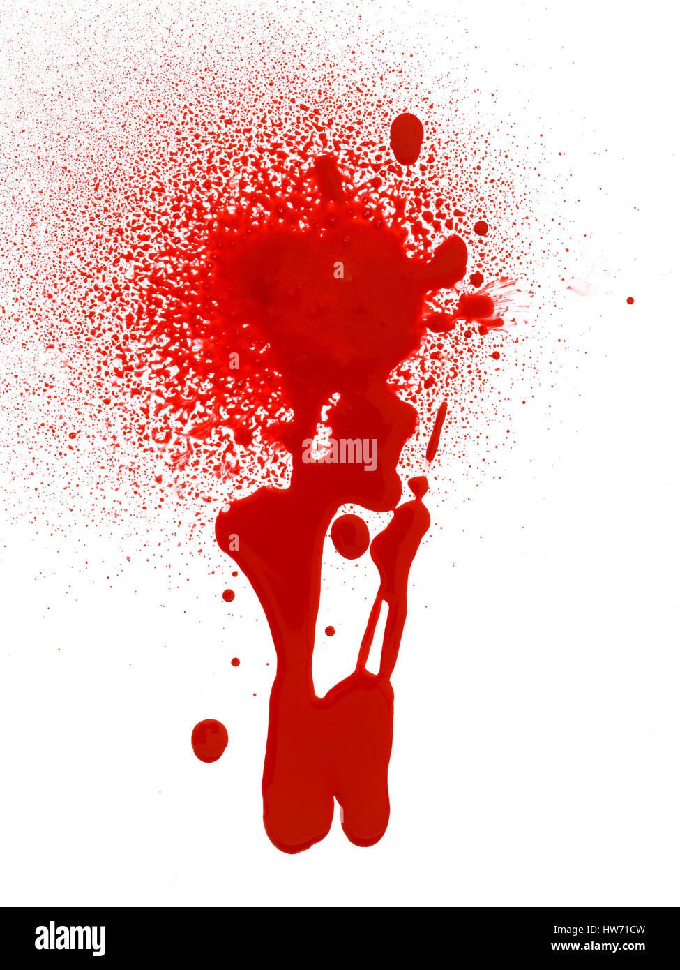 Gotas de sangre y a salpicar. Foto de stock