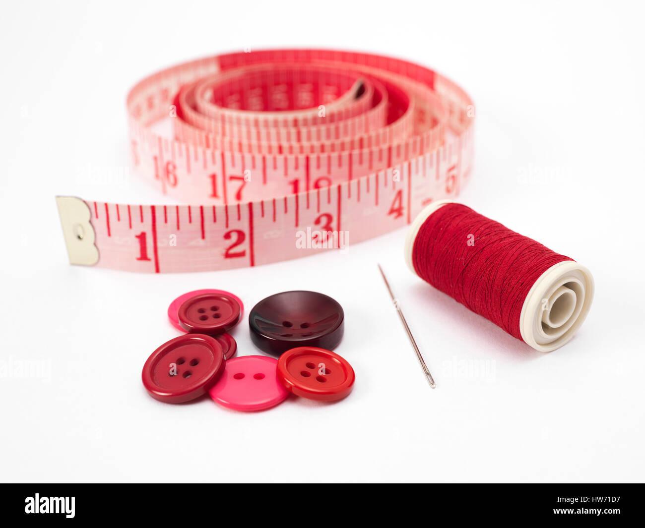 Botón rojo y algodón Foto de stock
