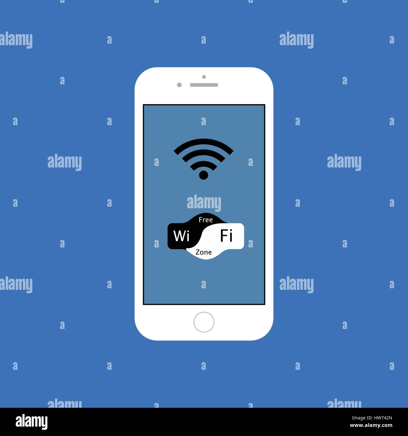 Wi Fi gratuita smartphone blanco ilustración Imagen De Stock
