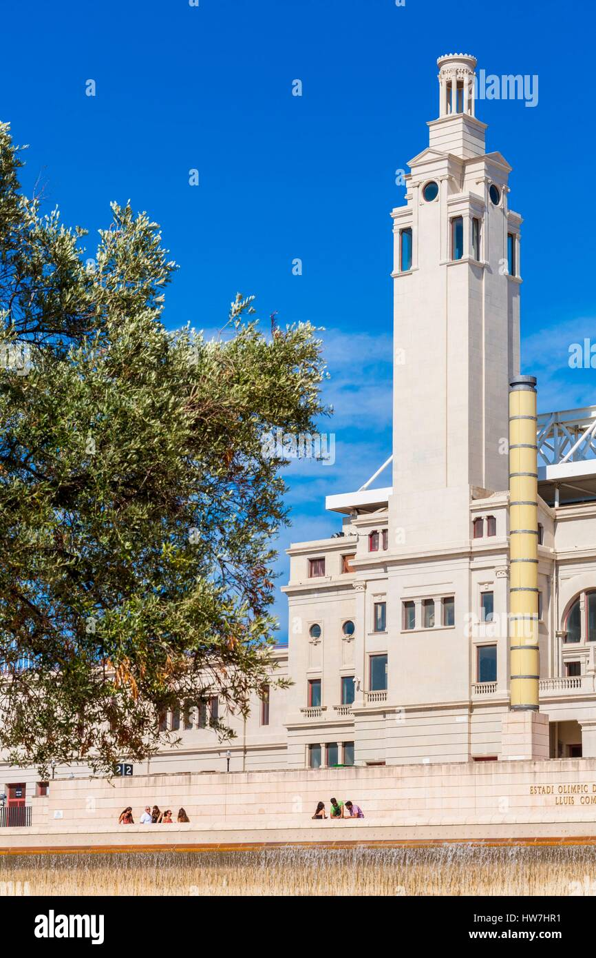 España, Cataluña, Barcelona Parque Olímpico de Montjuic, el Estadio Olímpico Lluís Companys de Barcelona, construido para los Juegos Olímpicos de Verano en 1992 Foto de stock