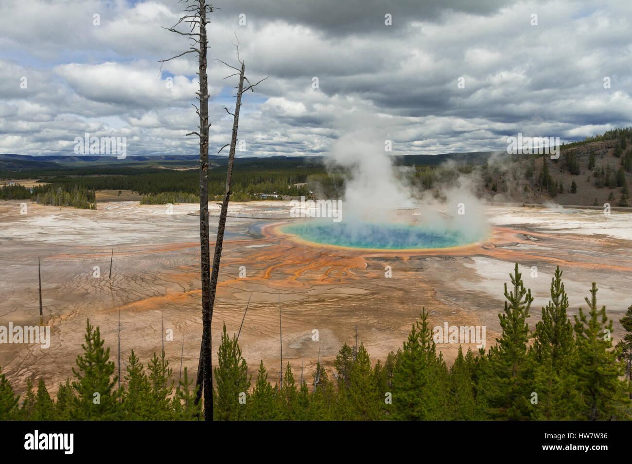 Grand Prismatic hot spring en el parque nacional Yellowstone, Wyoming. Foto de stock