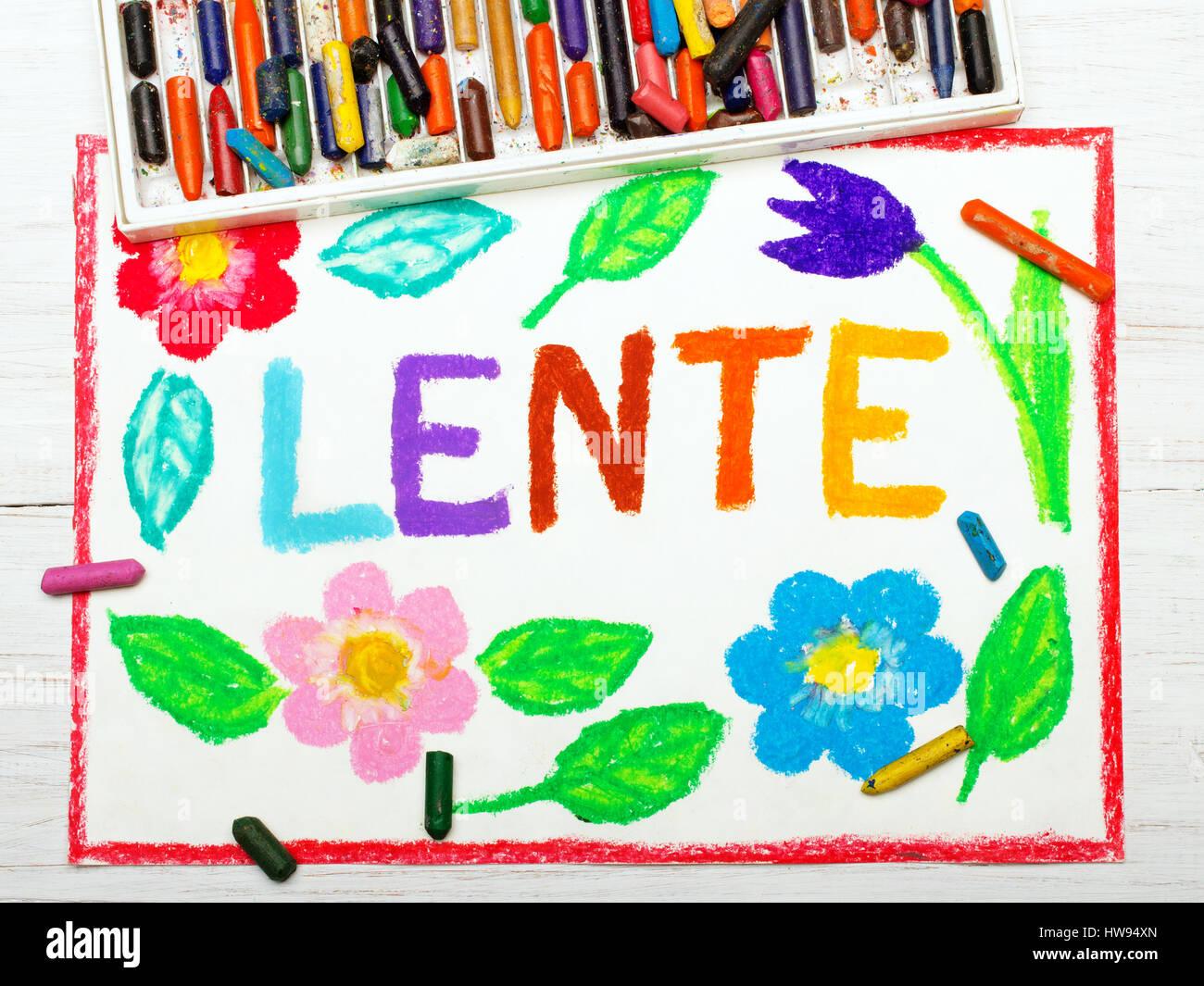Colorido dibujo: Nederlands palabras LENTE (primavera) y hermosas flores Imagen De Stock
