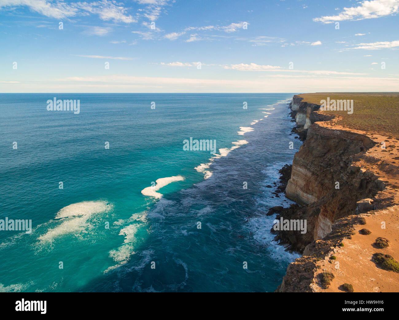 La Gran Bahía Australiana - Acantilados Bunda - llanuras de Nullarbor, en Australia del Sur Imagen De Stock