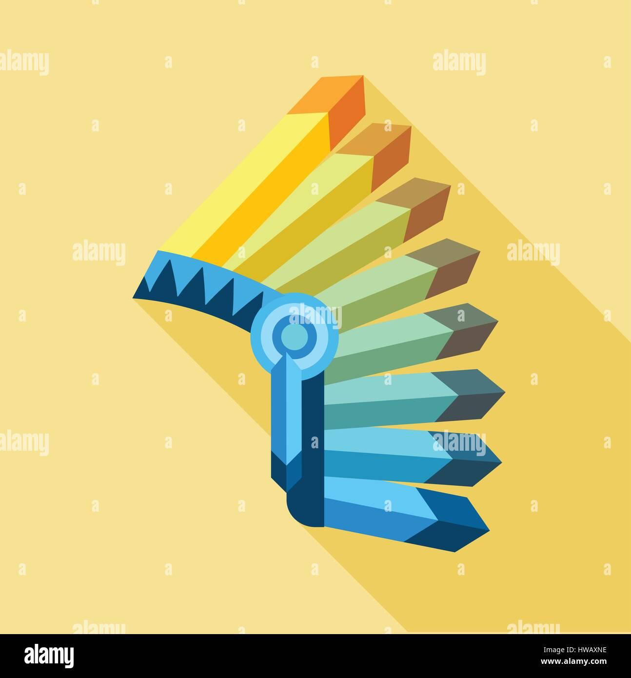 Icono de tocado de plumas indio, tipo plano Ilustración del Vector ...