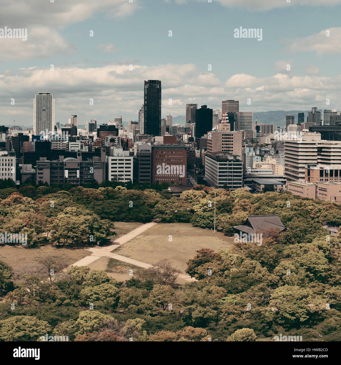 Osaka City Park urbano vista de la azotea. El Japón. Imagen De Stock