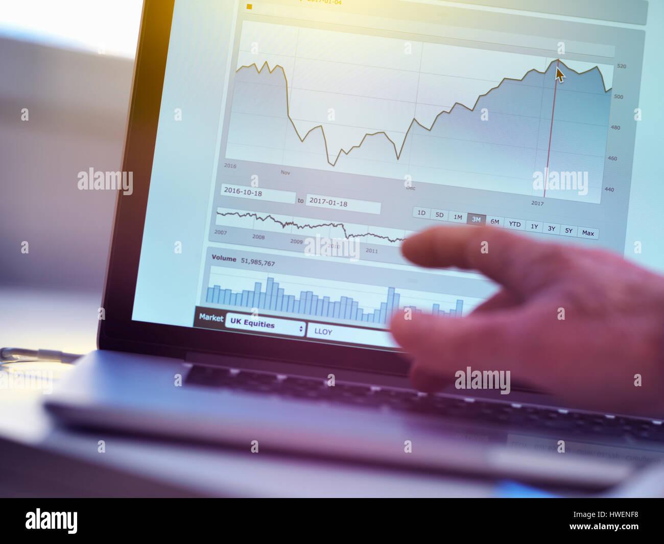 Ver empresa inversionista compartir datos de mercado el precio de un ordenador portátil Foto de stock
