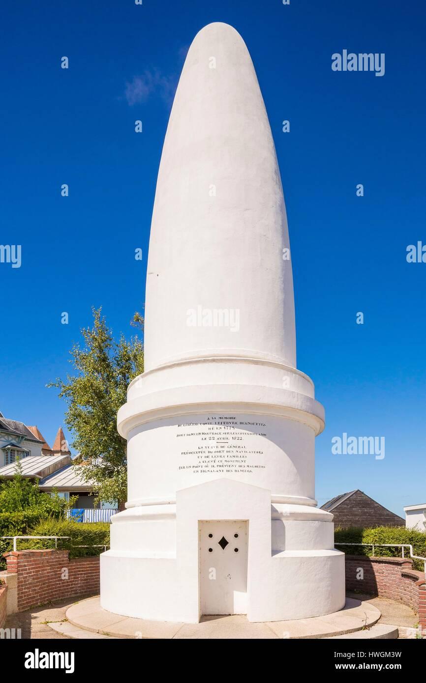 Francia, Seine Maritime, Sainte Adresse, Le Havre, Sugar Loaf, cenotafio erigido en 1852 por la viuda del General Imagen De Stock