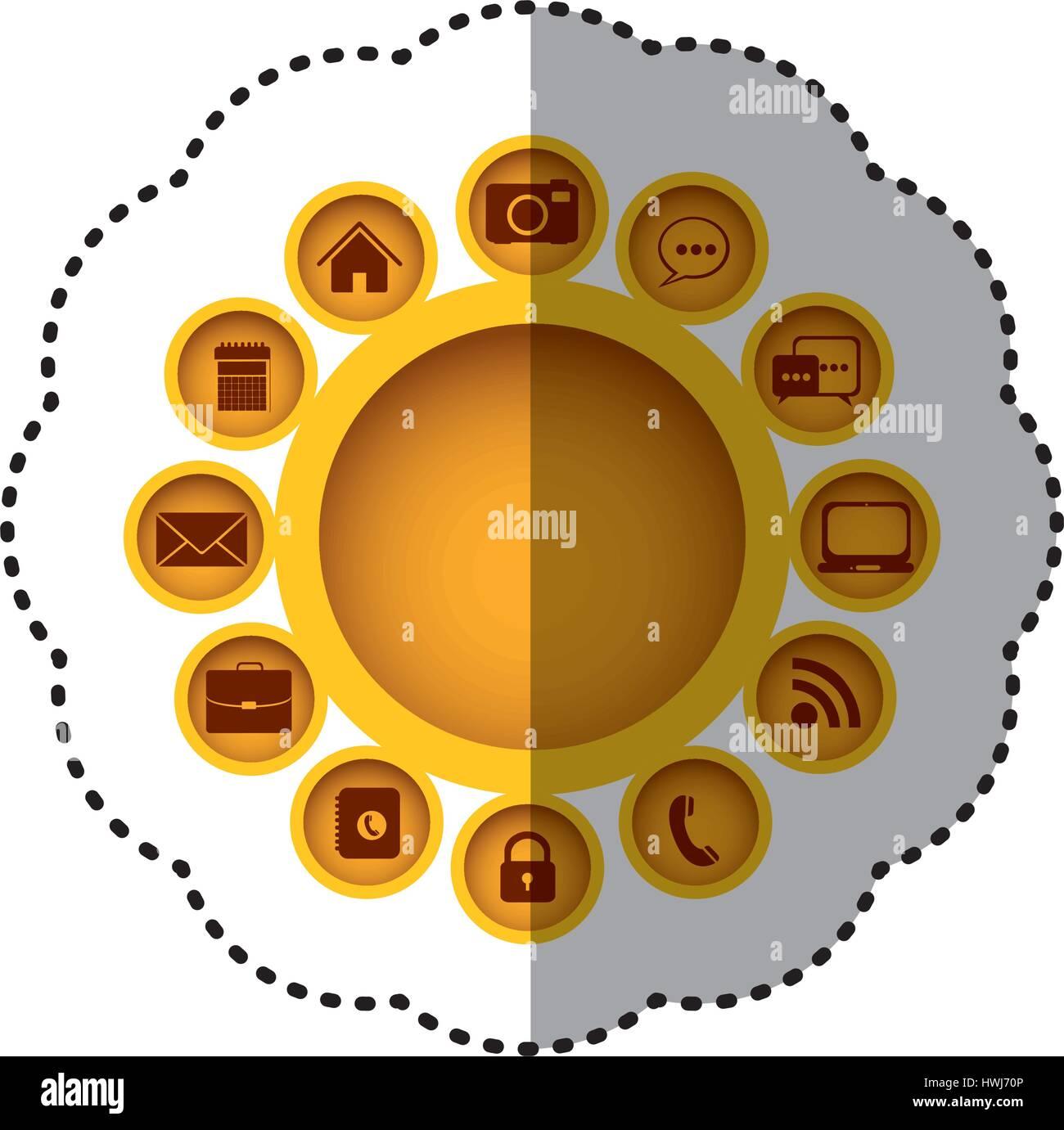 Aplicaciones La tecnología icono conexiones amarillo Imagen De Stock
