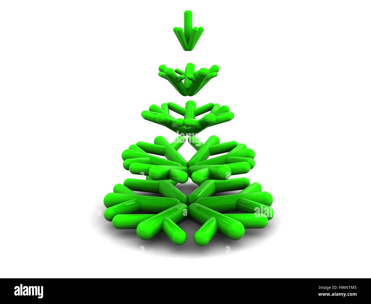 630ffaf87ac Ilustración 3d abstracto de estilizado árbol de Navidad sobre fondo blanco.  Imagen De Stock