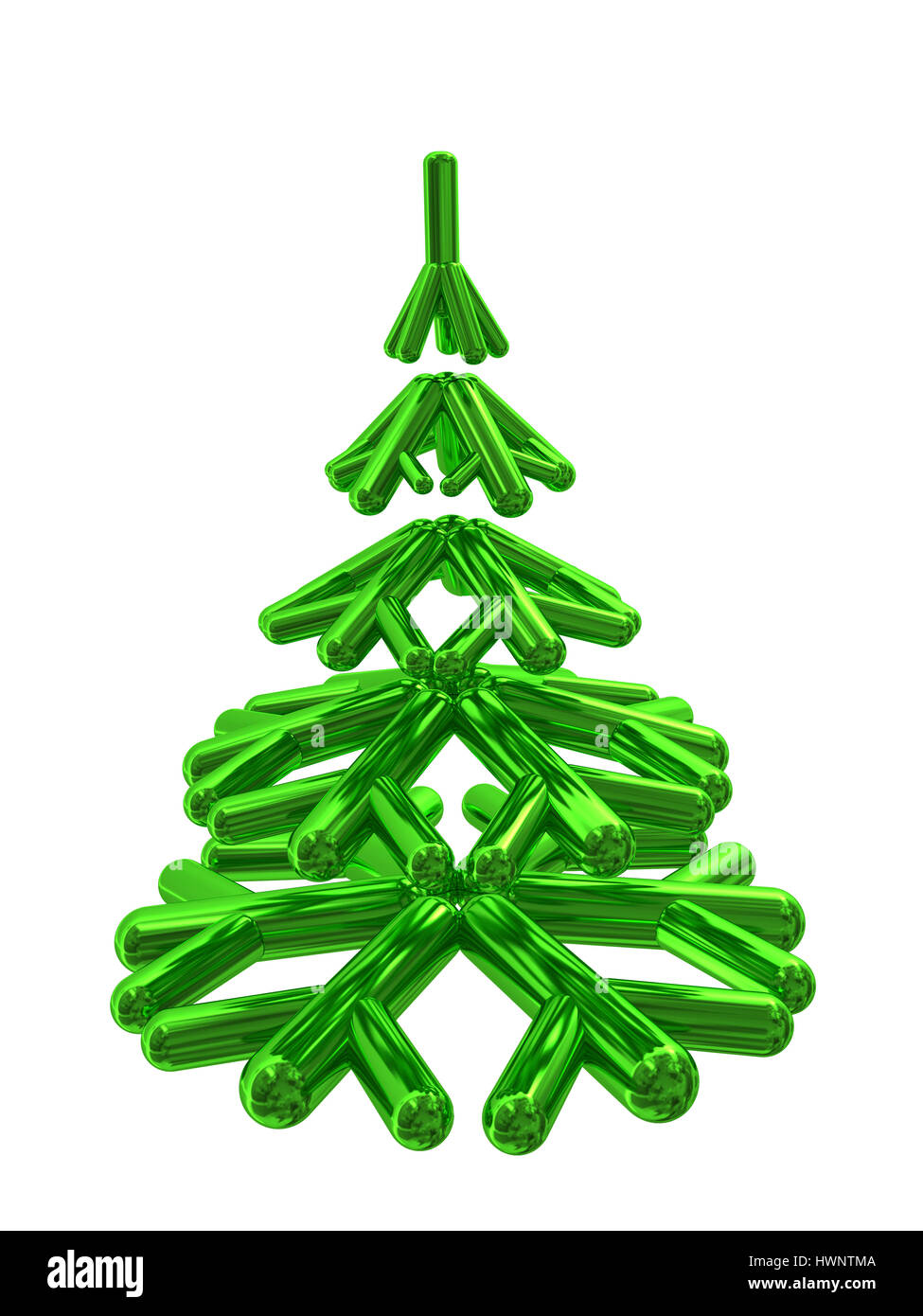e765df2a3af Ilustración 3d abstracto de árbol de navidad estilizada aislado sobre blanco  Imagen De Stock