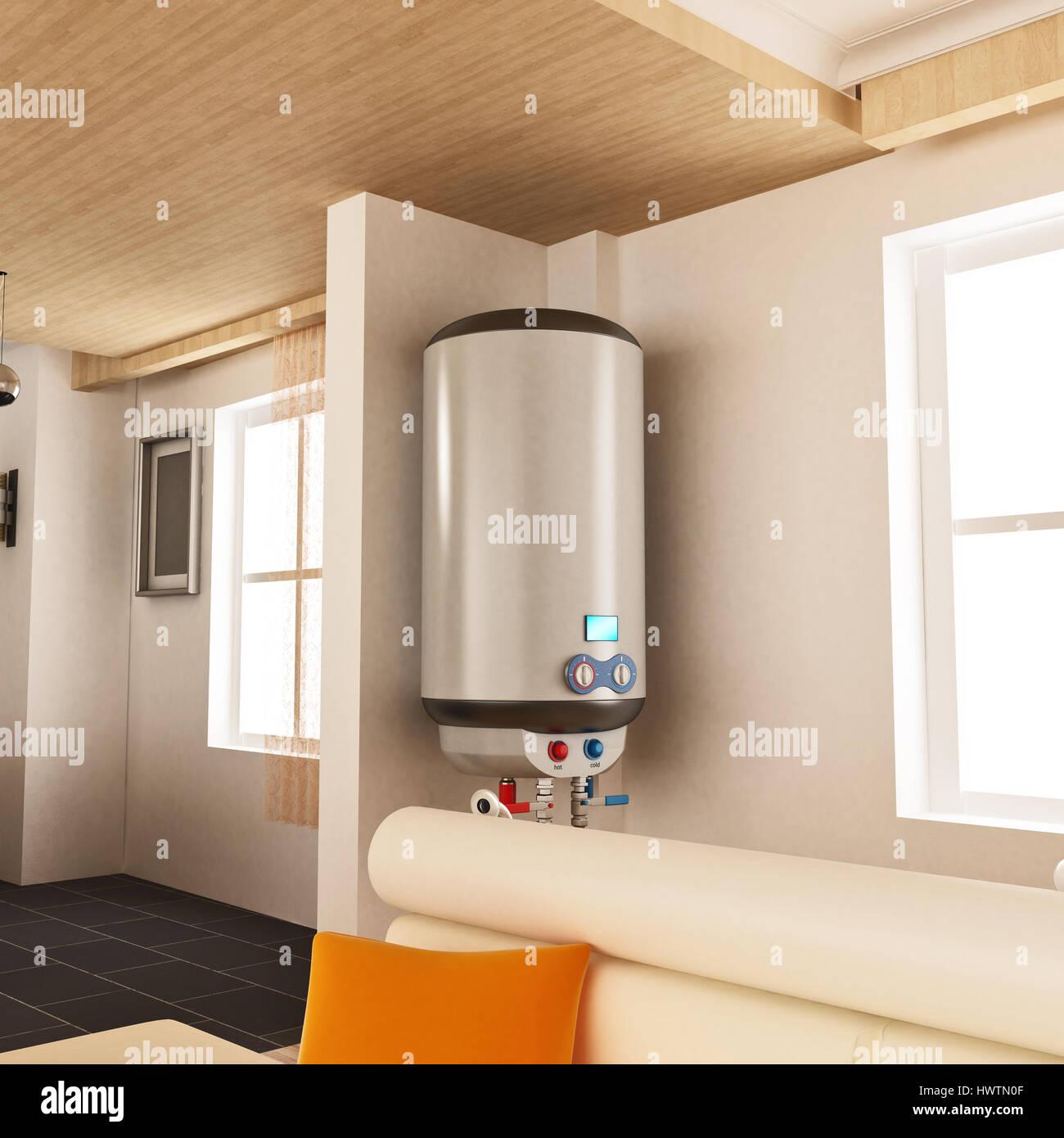 Calentador de agua colgando de la pared. Ilustración 3D. Imagen De Stock