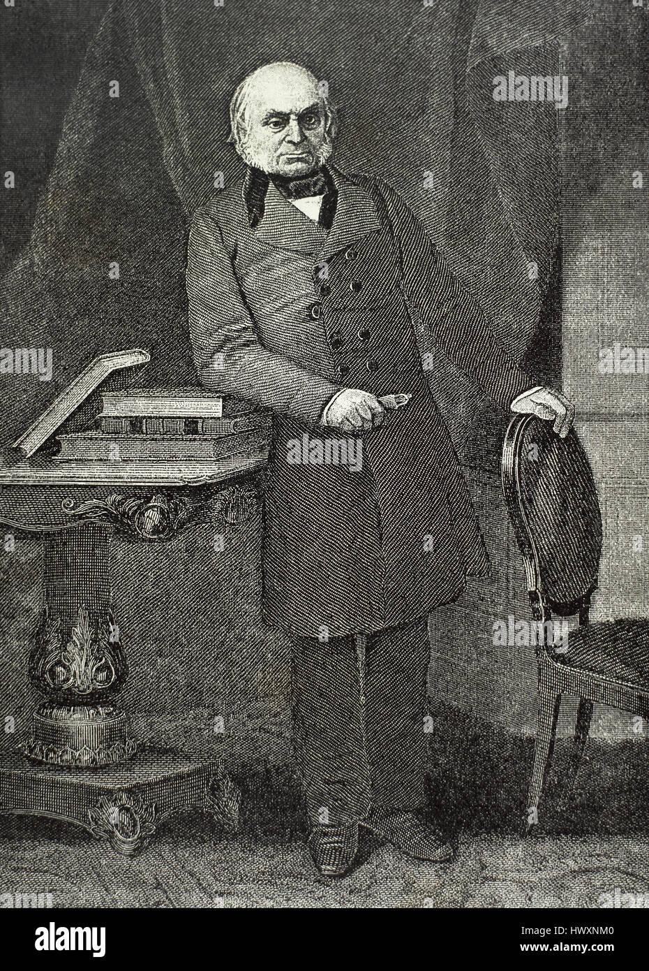 John Quincy Adams (1767-1848). Político y diplomático estadounidense. Sexto Presidente de los Estados Unidos. Retrato. Foto de stock