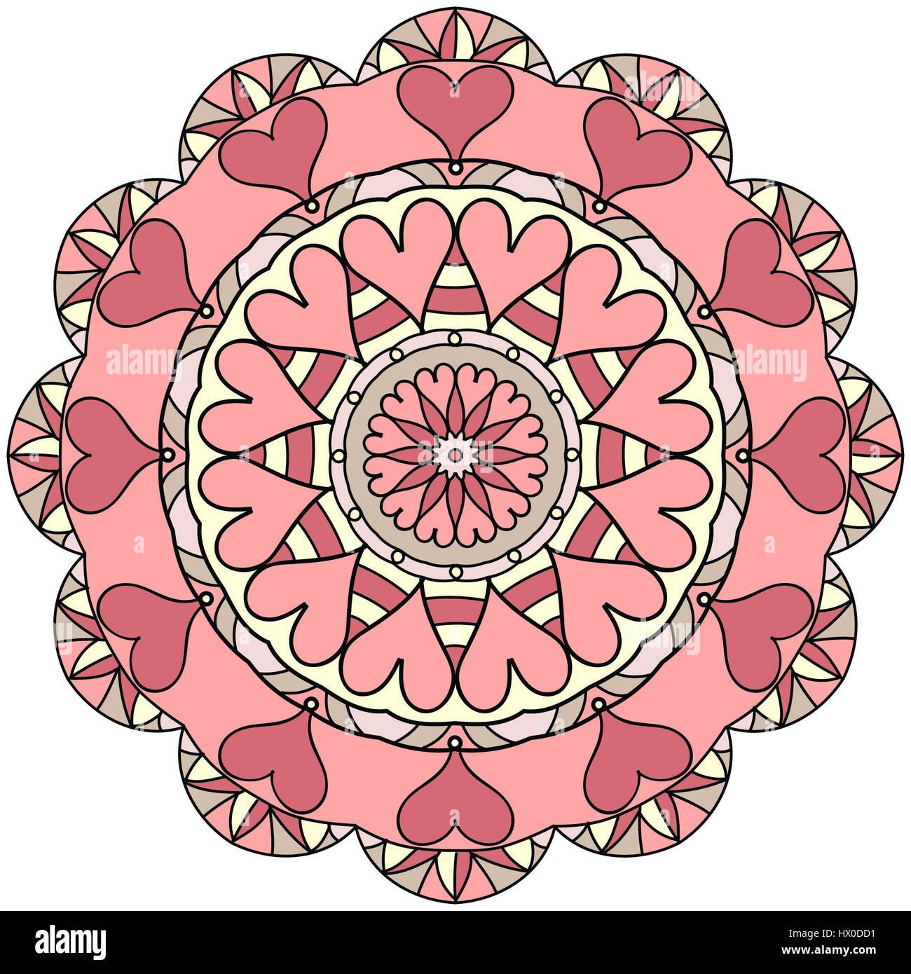 Mandala Ilustración En Tonos De Rosa Dibujo De Líneas De Color Foto