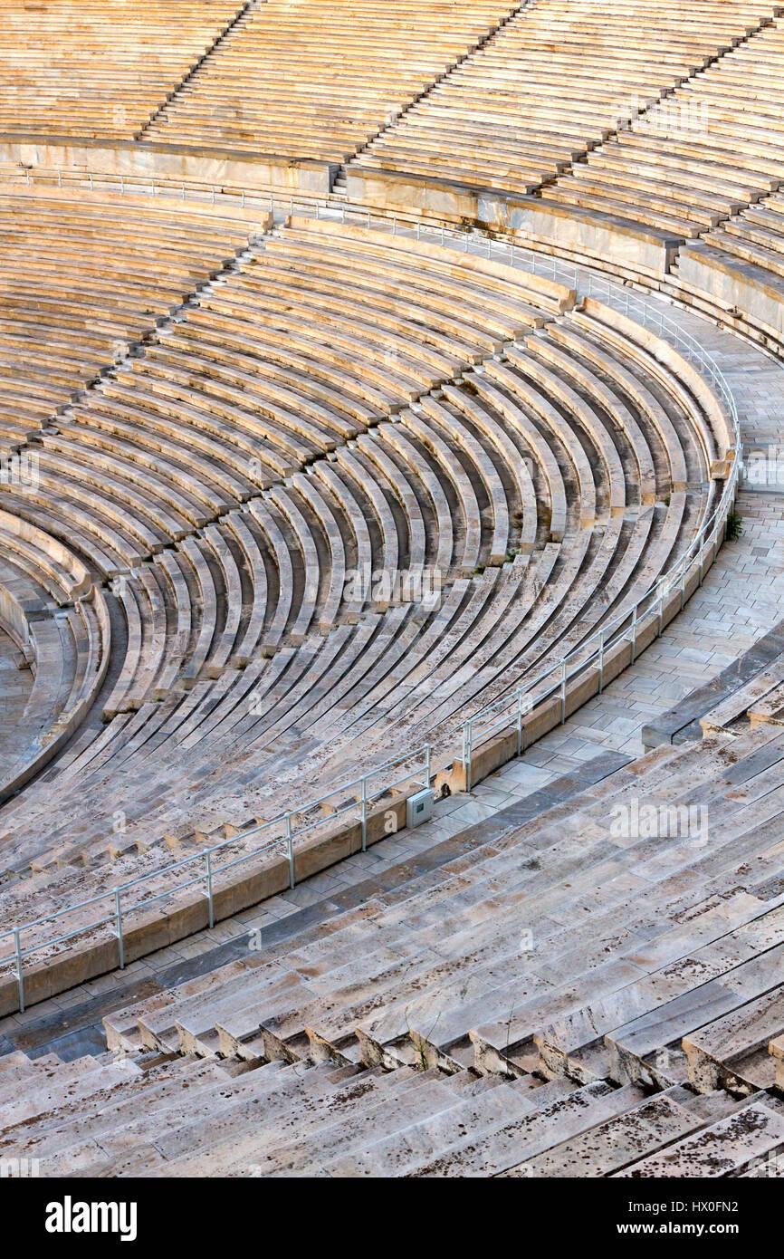 Vista parcial de la Panathenaic Stadium, también conocido como Kallimarmaro en Atenas, Grecia. Es el único Imagen De Stock