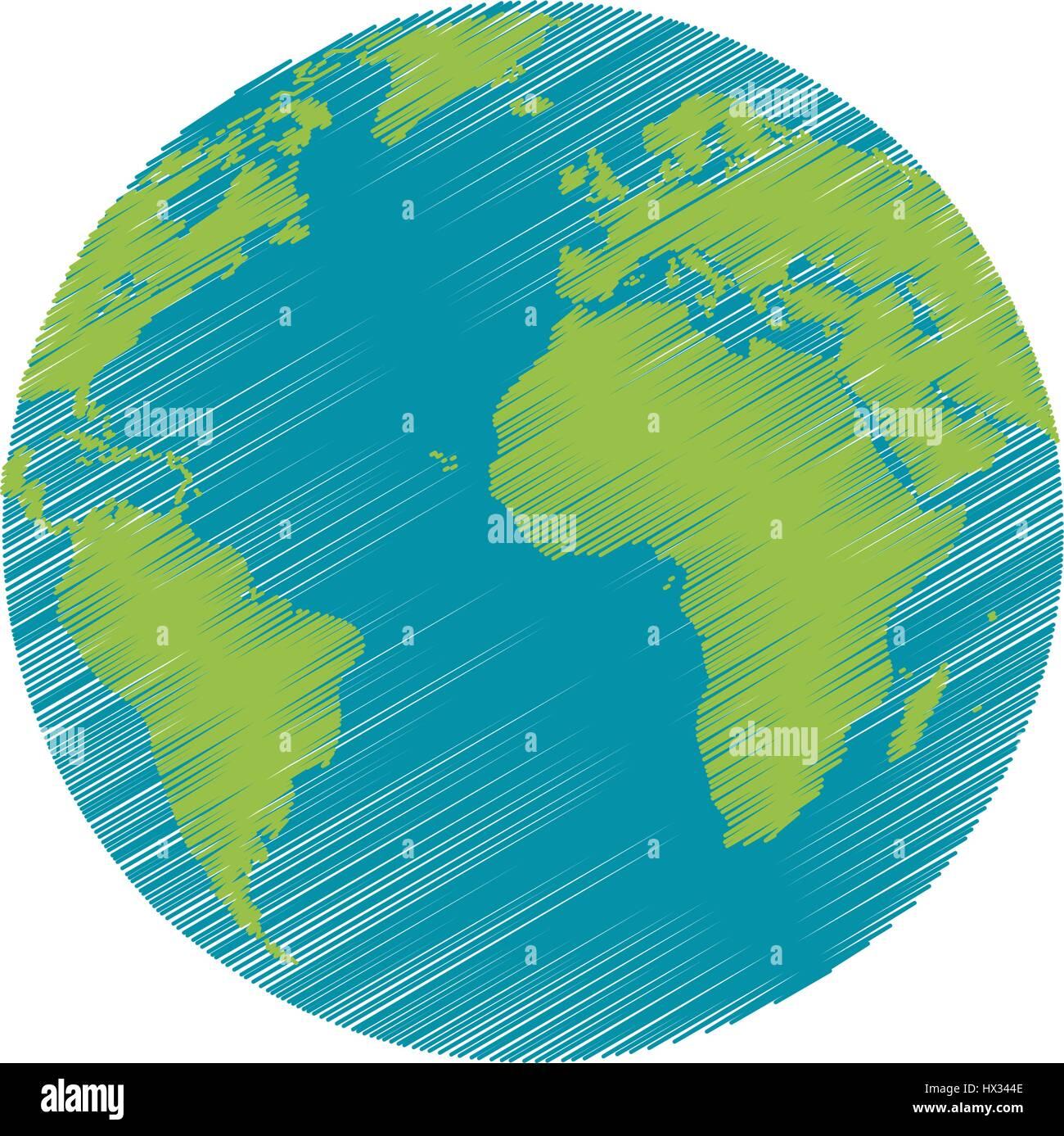 Planeta Tierra Dibujo Imagen Del Mundo Ilustración Del Vector