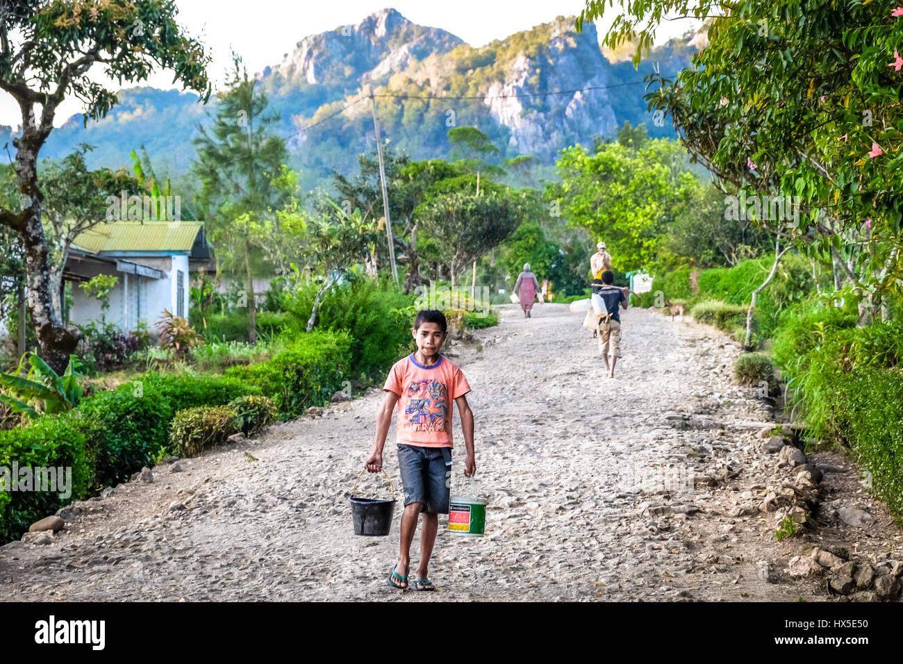 Un niño llevar el agua a los hogares con baldes en la remota aldea de Fatumnasi en Timor Occidental, la provincia Imagen De Stock