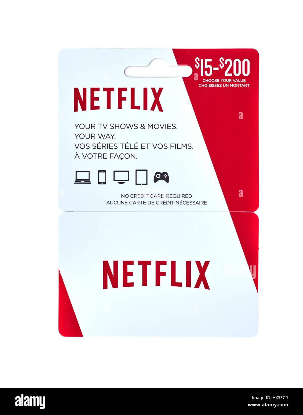 MONTREAL, Canadá - 10 de marzo de 2017 : Netflix vale de regalo popular. La tarjeta de prepago es una tarjeta Imagen De Stock