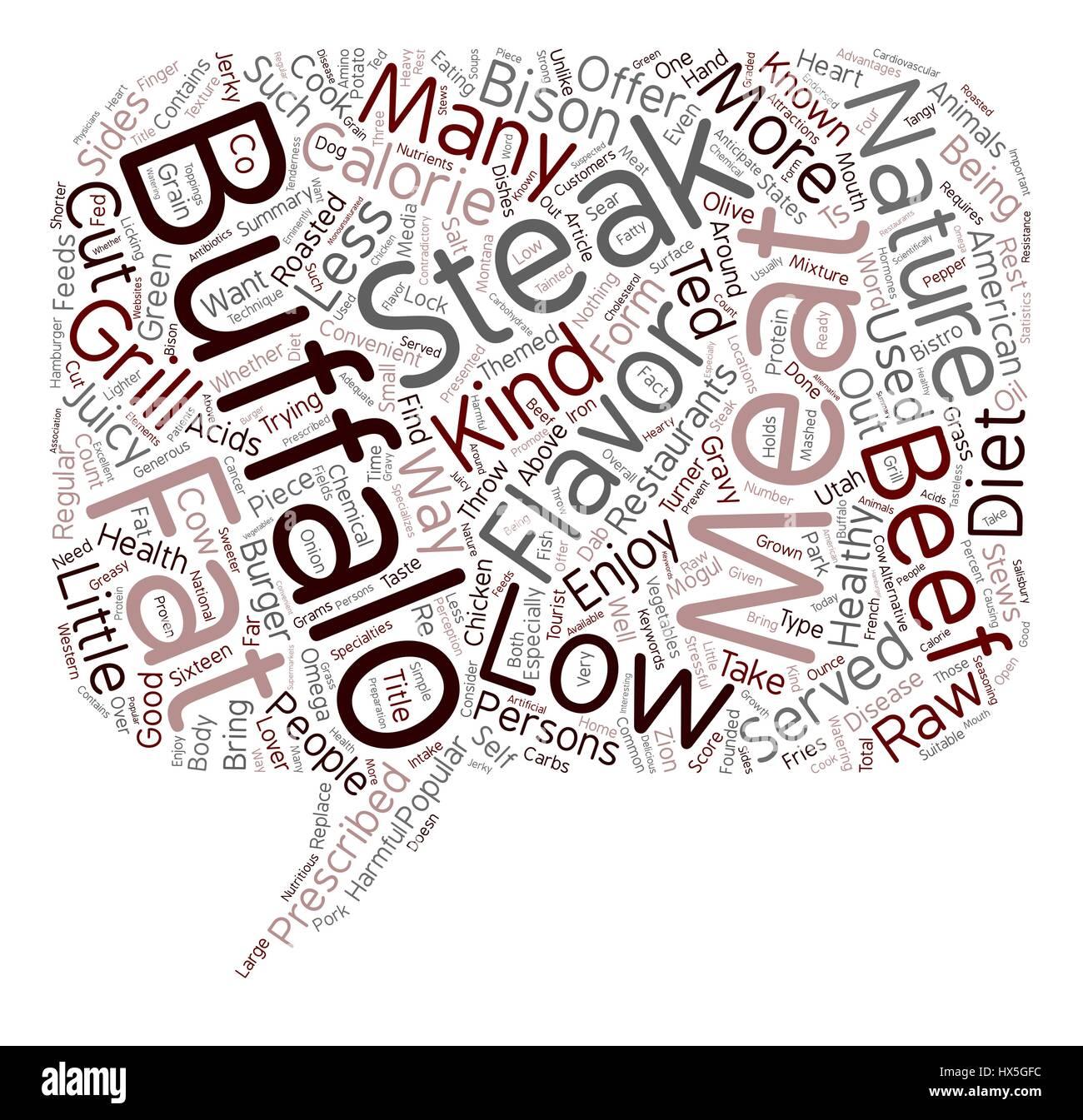 La carne de búfalo un corte por encima del resto de fondo de texto wordcloud concepto Ilustración del Vector