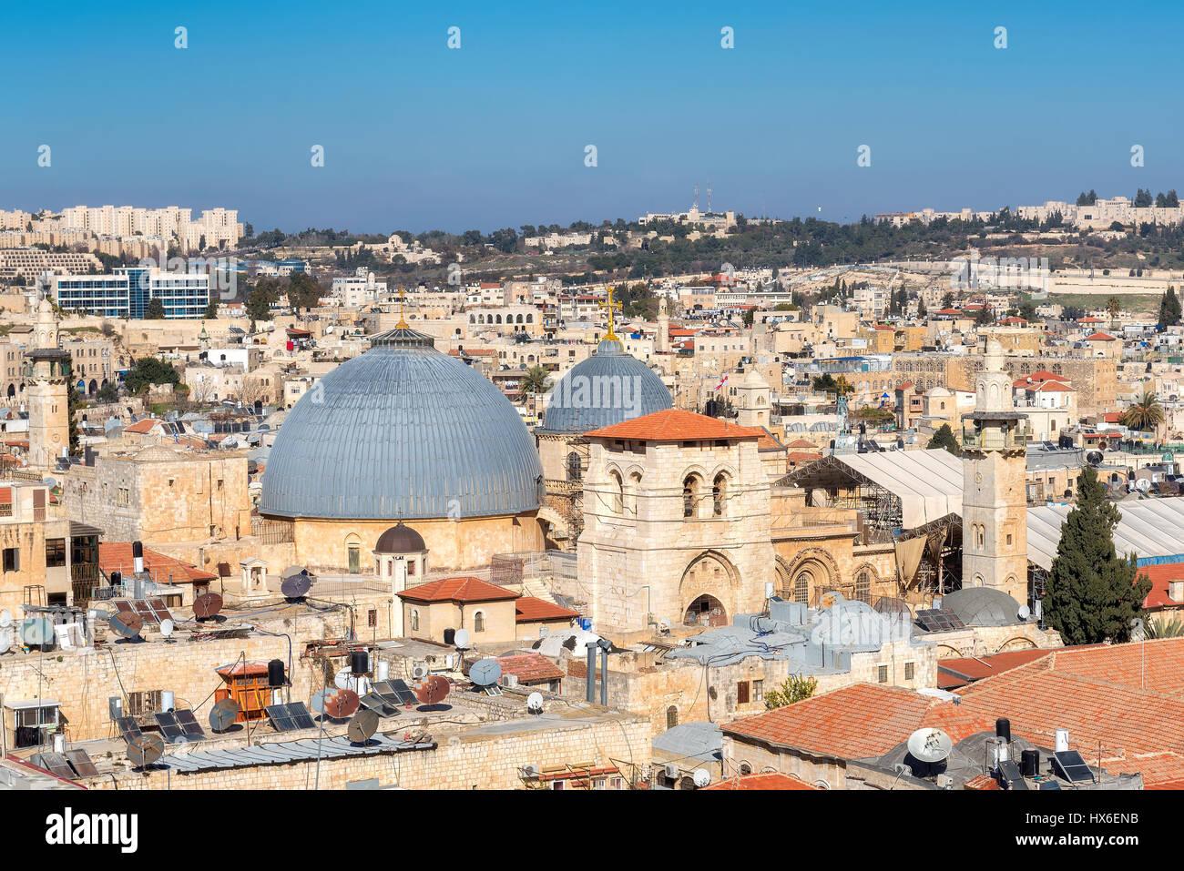La Ciudad Vieja de Jerusalén y la iglesia del Santo Sepulcro, en Jerusalén, Israel. Imagen De Stock