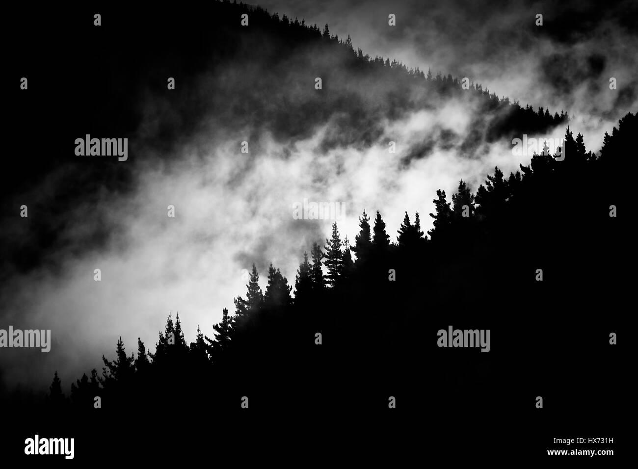 Niebla en el valle de montaña Foto de stock