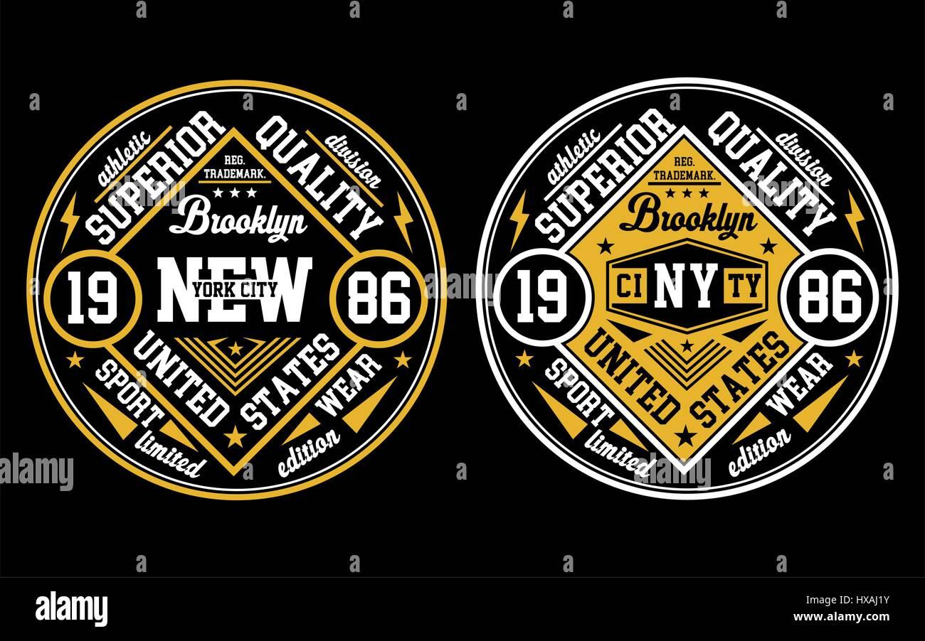 Diseño de la ciudad de Nueva York, carteles, emblemas, Vector. Imagen De Stock