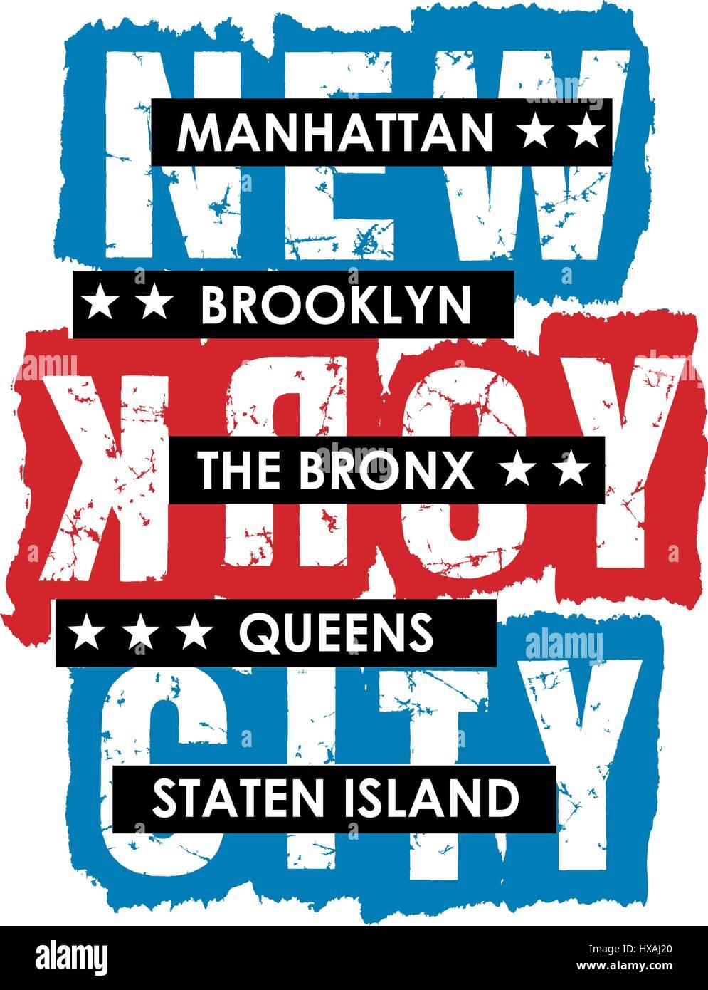 Nueva York Typography Diseño para camiseta, póster, Vector. Imagen De Stock