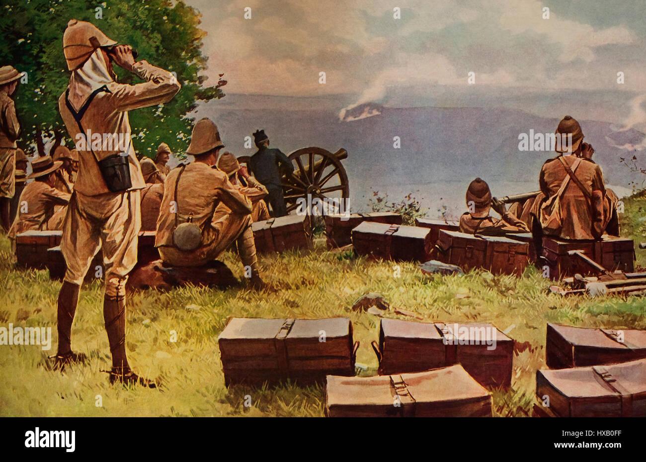 Los combates de artillería de largo alcance durante la Guerra de los Boer Imagen De Stock