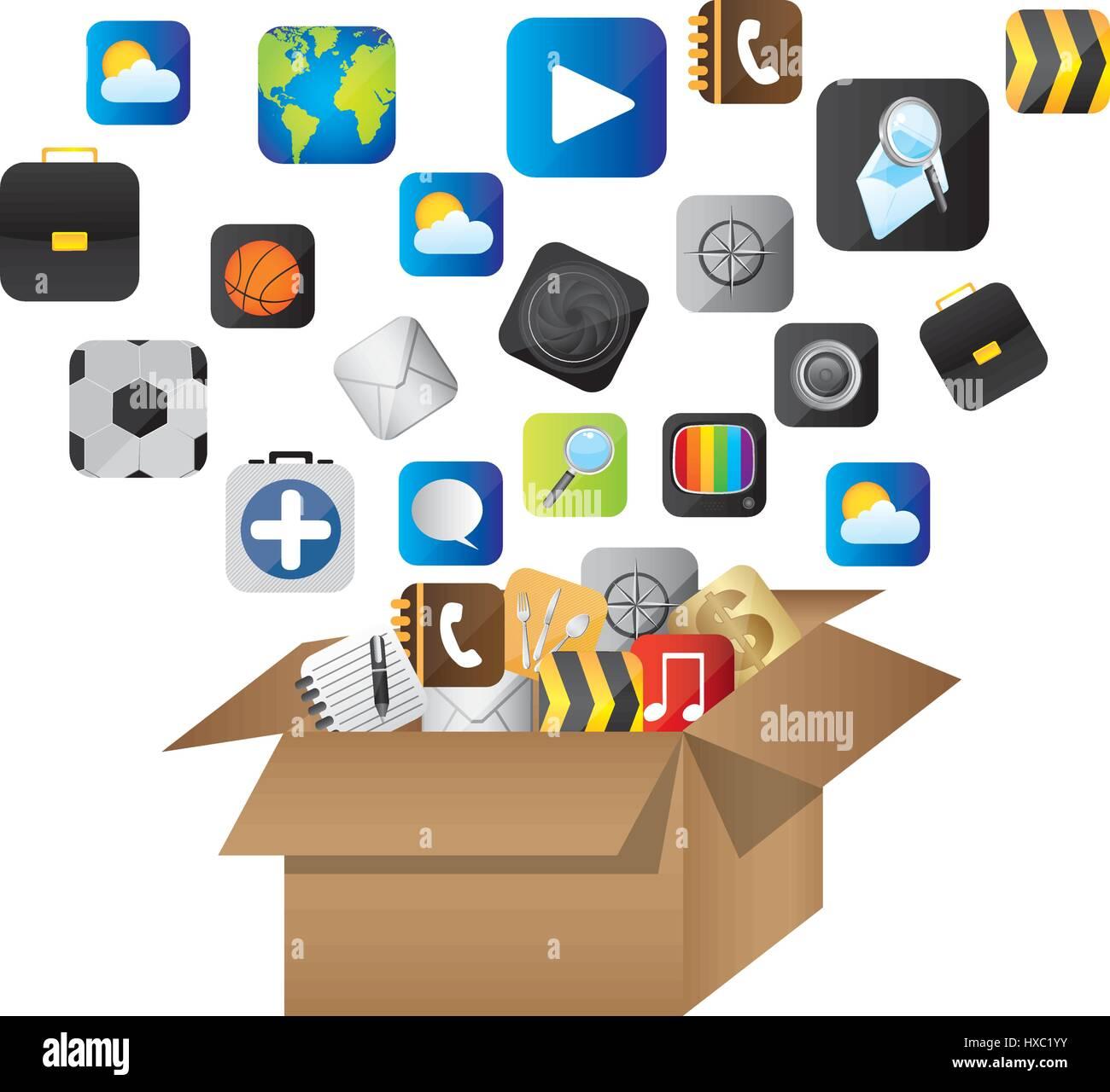Caja de cartón abierta con comunicar los elementos globales Imagen De Stock