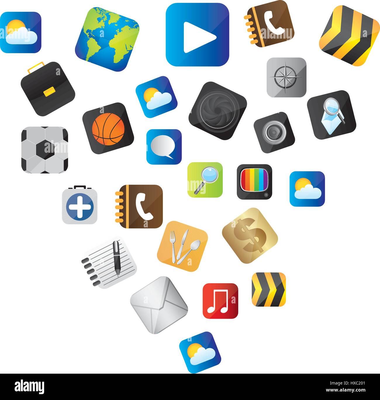 Definición de botones variedad comunicar los elementos globales Imagen De Stock