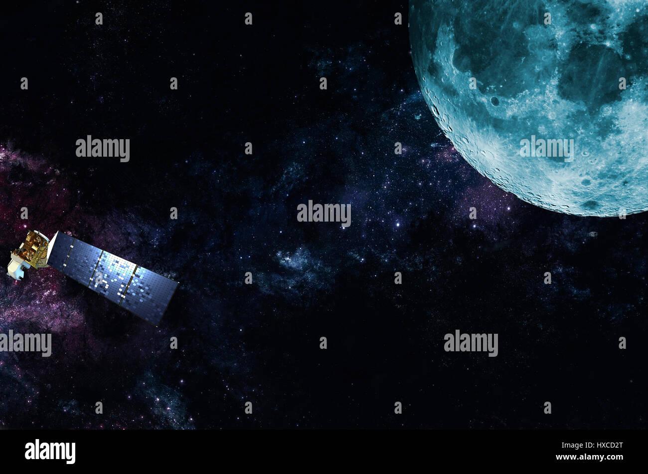 Explorar y transmisión de satélite en órbita alrededor del planeta Tierra Imagen De Stock